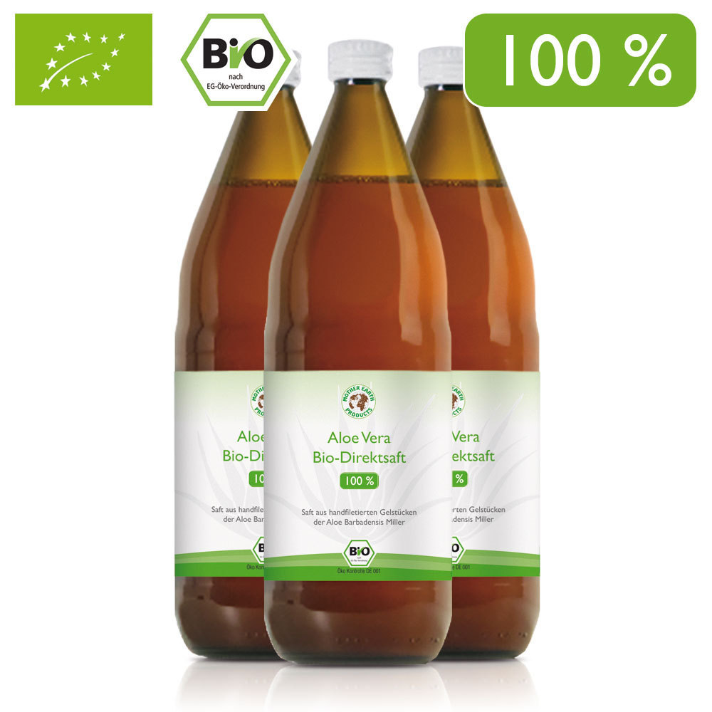 aloe vera bio direktsaft 100 3x1000 ml mother earth products. Black Bedroom Furniture Sets. Home Design Ideas